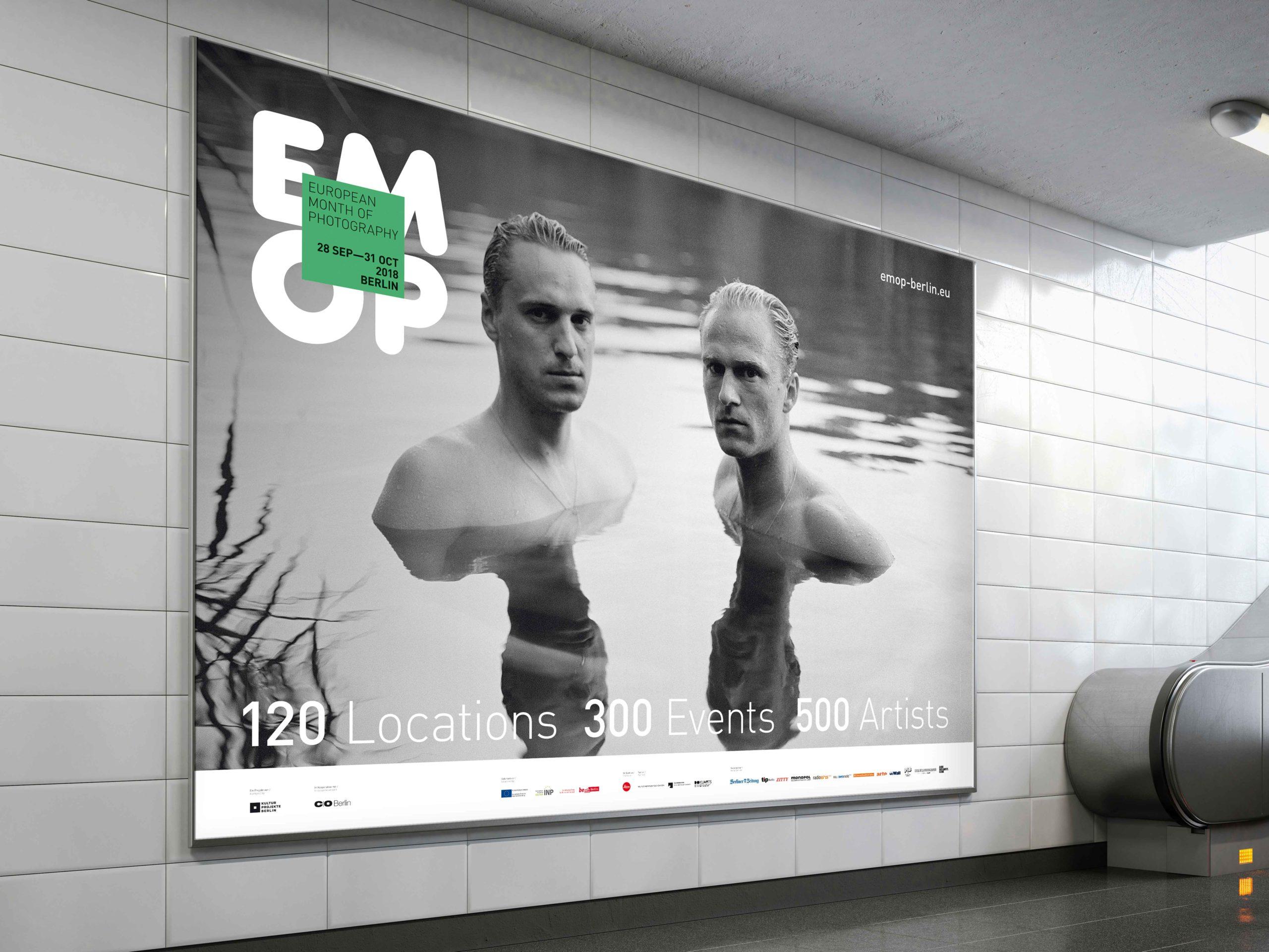 Big billboard in the bright subway. 3d rendering